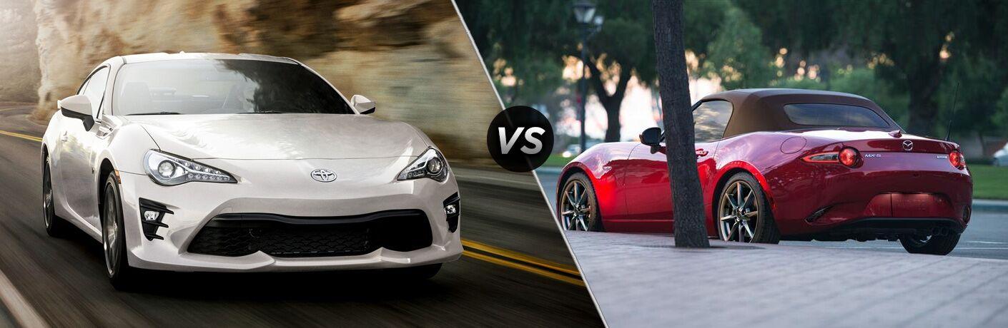 Comparison image of a white 2019 Toyota 86 and a red 2019 Mazda MX-5 Miata