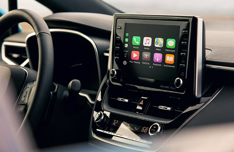 center display screen in 2019 Toyota Corolla Hatchback showing Apple CarPlay