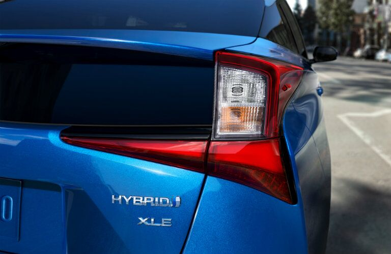new taillights on blue 2019 Toyota Prius
