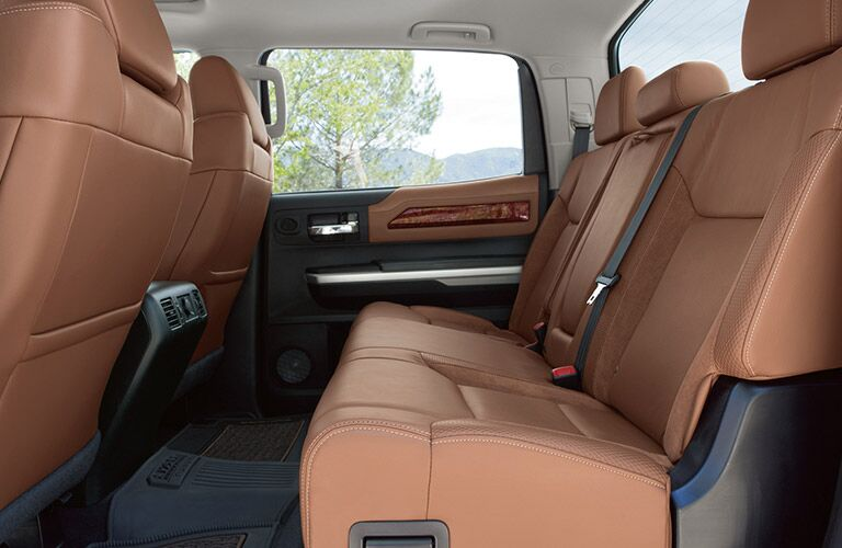 Brown rear seats in a 2019 Toyota Tundra