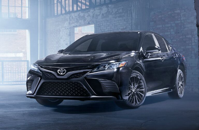 Front view of black 2019 Toyota Camry Hybrid