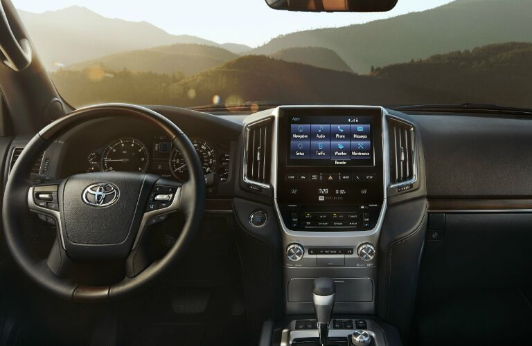 Steering wheel, gauges, and touchsreen in 2019 Toyota Land Cruiser