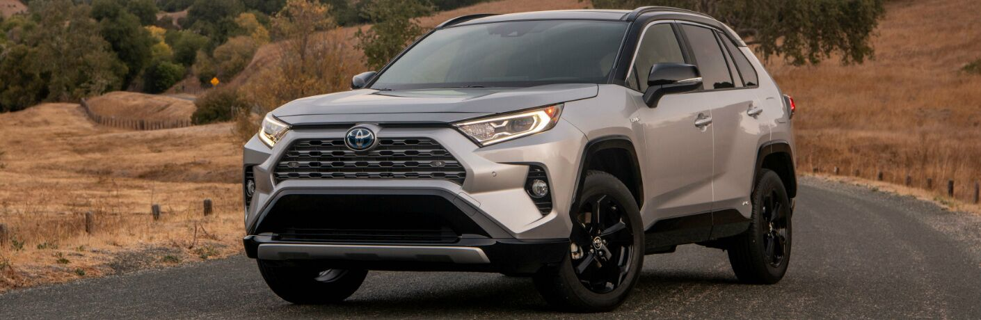 Front view of silver 2019 Toyota RAV4 Hybrid