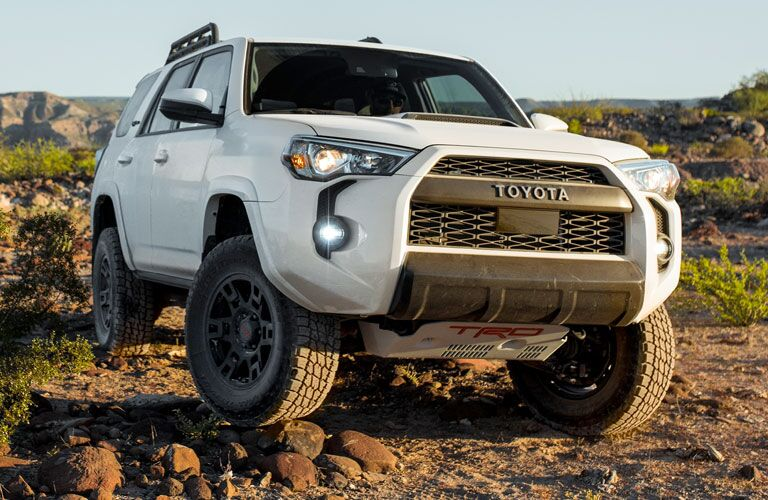 White 2020 Toyota 4Runner parked on a rocky trail