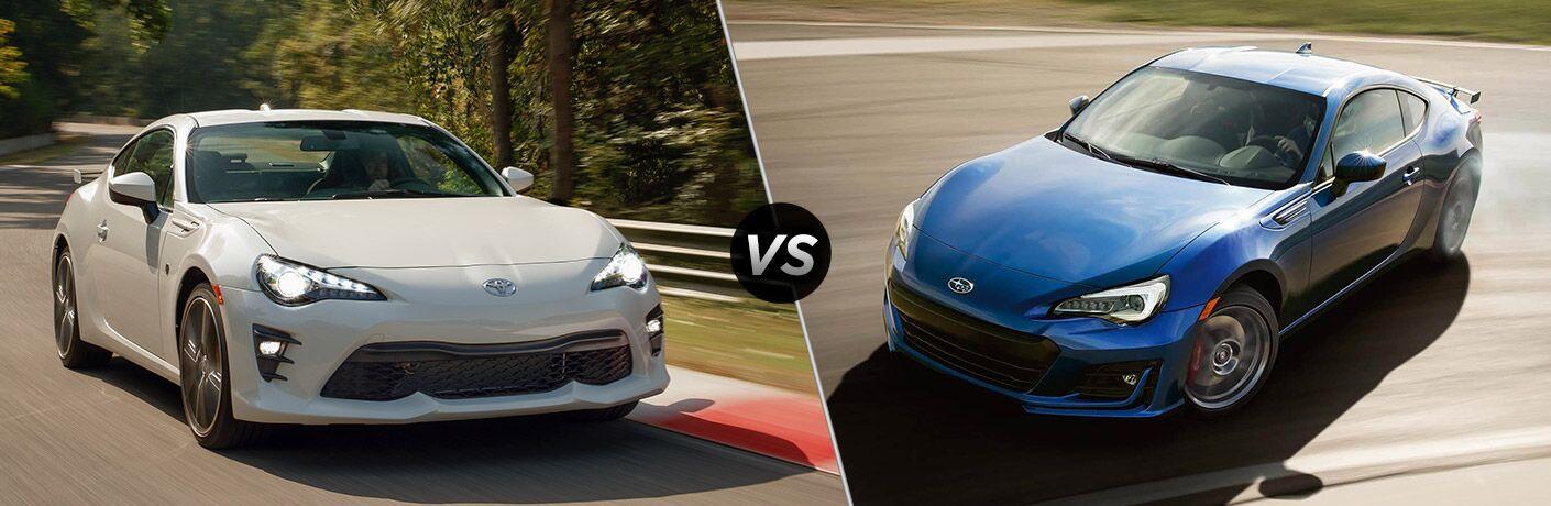 White 2020 Toyota 86, VS icon, and blue 2020 Subaru BRZ