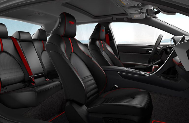 Grey and red front and rear seats in 2020 Toyota Avalon
