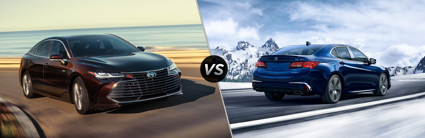 Reddish-brown 2020 Toyota Avalon, VS icon, and blue 2020 Acura TLX