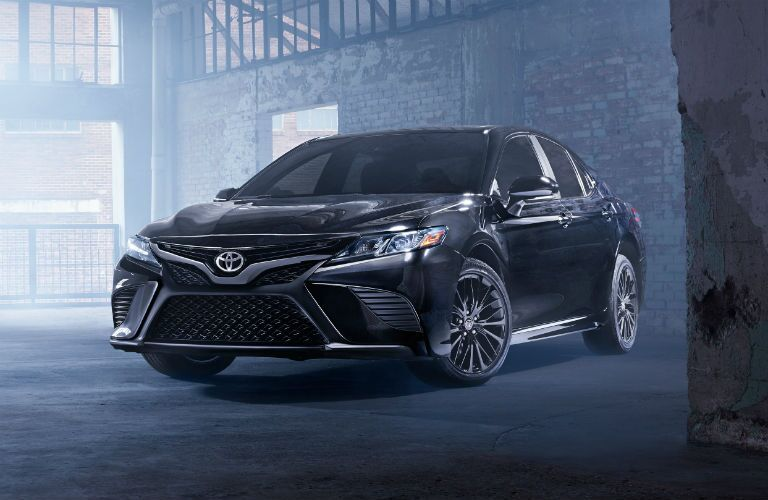 Front view of black 2020 Toyota Camry