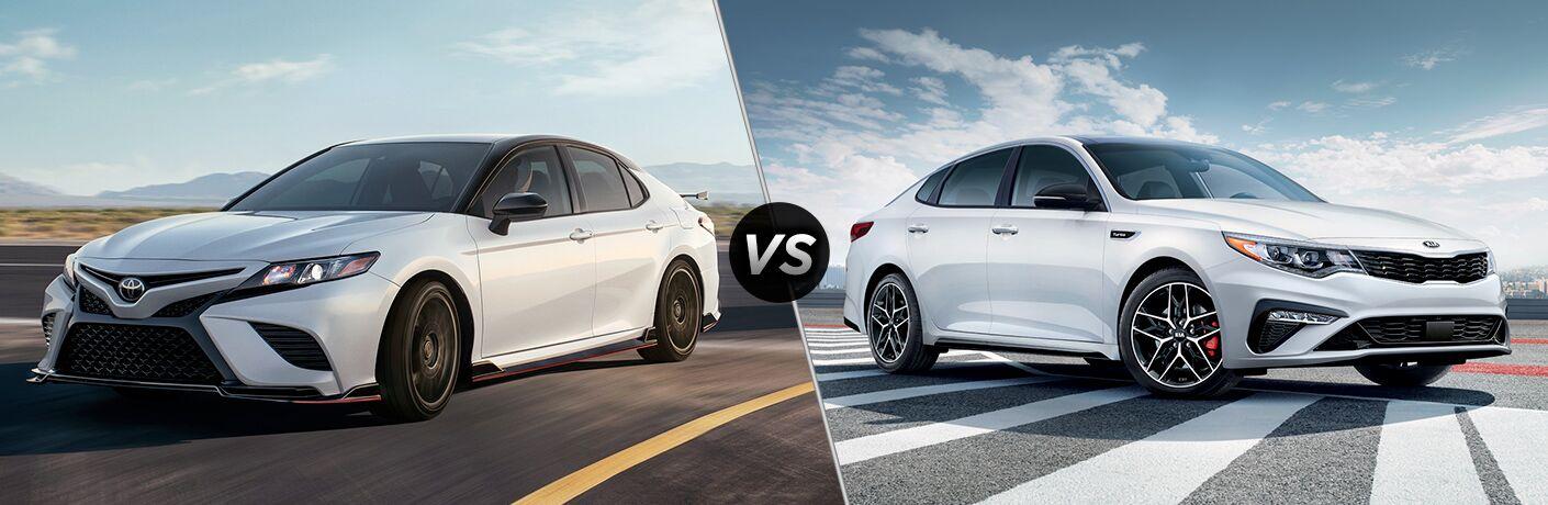 White 2020 Toyota Camry, VS icon, and white 2020 Kia Optima