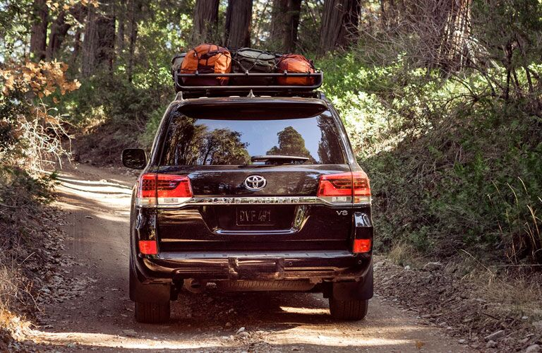 Black 2020 Toyota Land Cruiser driving on a forest road