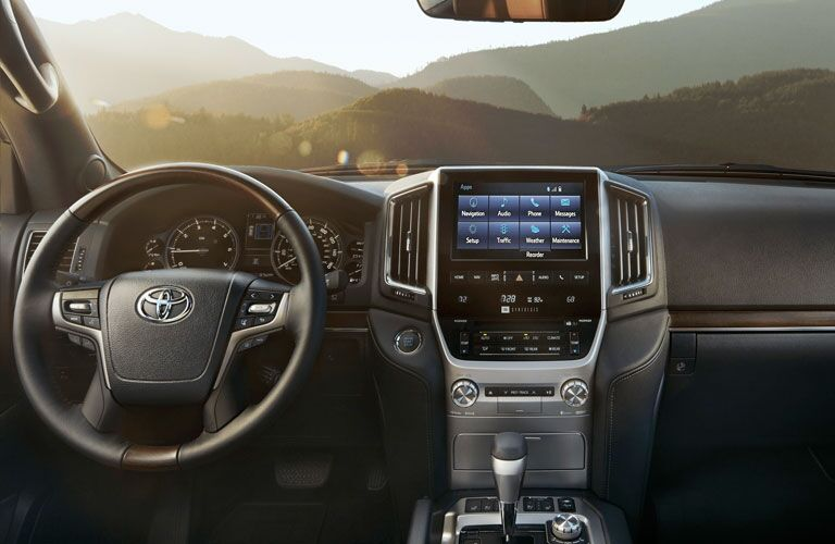 Steering wheel, gauges, and touchscreen in 2020 Toyota Land Cruiser
