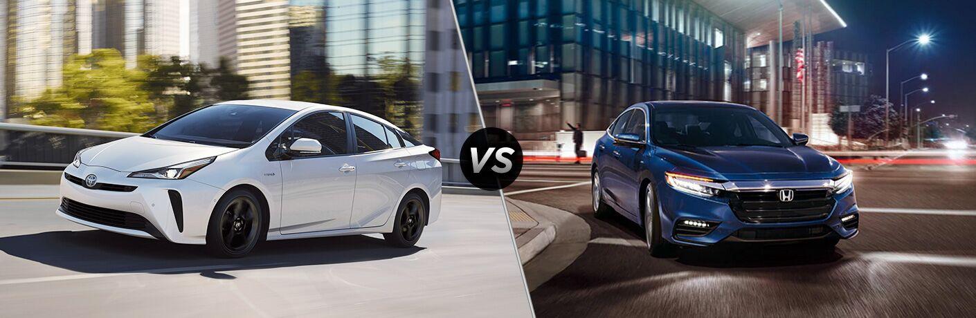 White 2020 Toyota Prius, VS icon, and blue 2020 Honda Insight