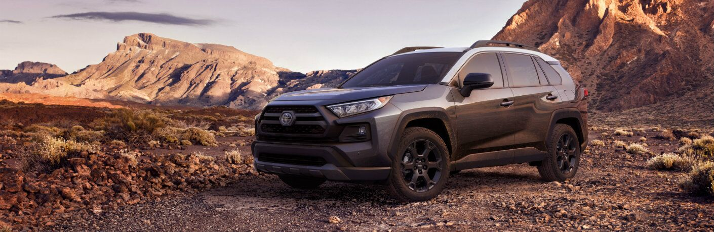 gray 2020 Toyota RAV4 TRD Off-Road parked in front of mountains