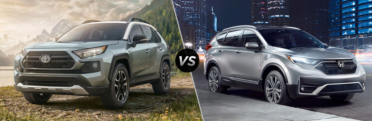Light green 2020 Toyota RAV4, VS icon, and silver 2020 Honda CR-V