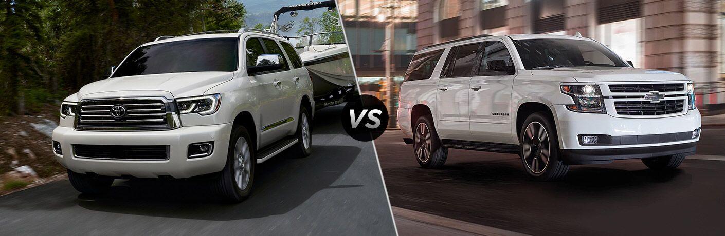 White 2020 Toyota Sequoia, VS icon, and white 2020 Chevrolet Suburban