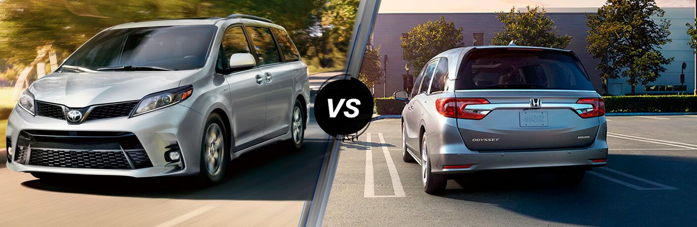 Silver 2020 Toyota Sienna, VS icon, and silver 2020 Honda Odyssey