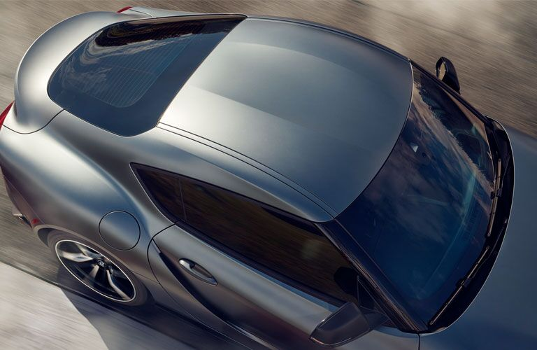 overhead view of silver 2020 Toyota Supra