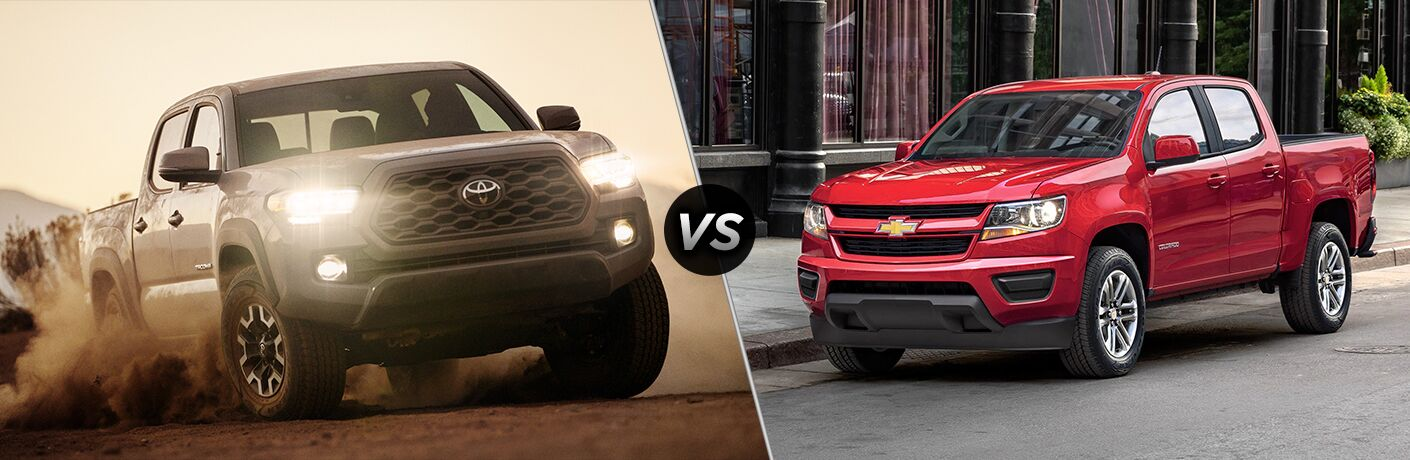Light brown 2020 Toyota Tacoma, VS icon, and red 2020 Chevrolet Colorado