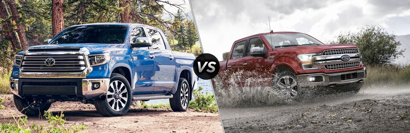 Blue 2020 Toyota Tundra, VS icon, and red 2020 Ford F-150