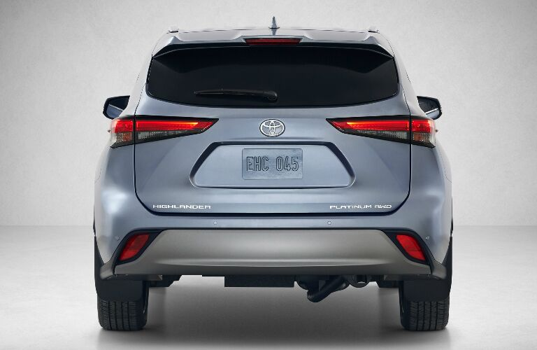 Rear view of blue-grey 2020 Toyota Highlander