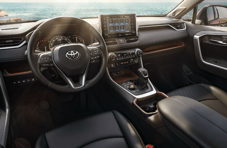 Dark grey dashboard and front seats in 2020 Toyota RAV4
