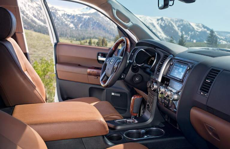Dashboard and brown front seats in 2020 Toyota Sequoia