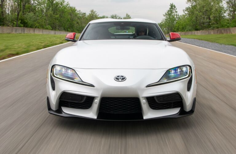 Front view of white 2020 Toyota Supra