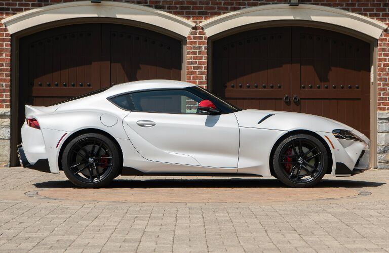 Side view of white 2020 Toyota Supra