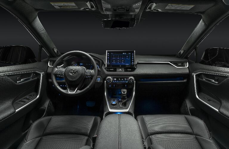 Grey dashboard and front seats in 2021 Toyota RAV4 Prime