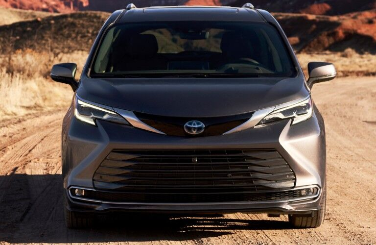 Front view of grey 2021 Toyota Sienna