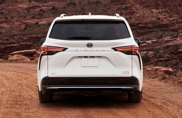 Rear view of white 2021 Toyota Sienna
