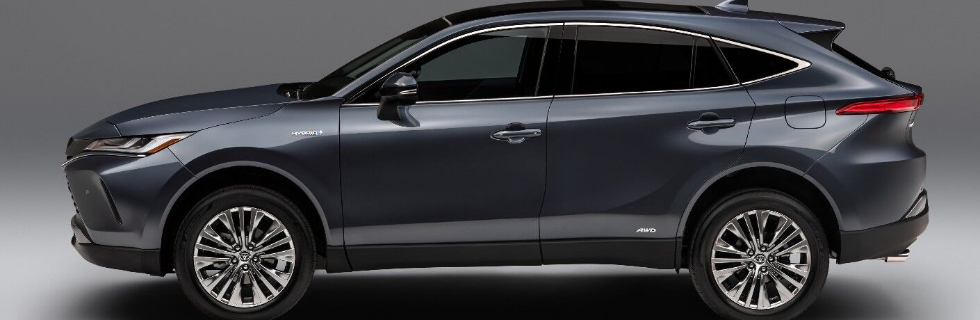 Side view of blue-grey 2021 Toyota Venza