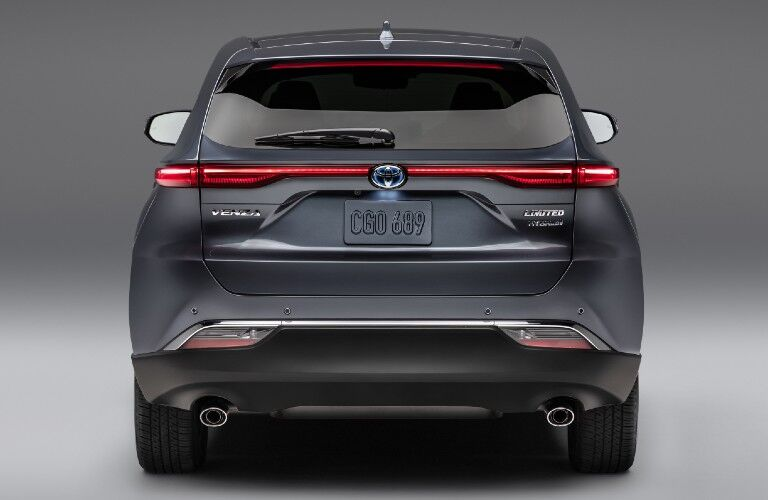 Rear view of blue-grey 2021 Toyota Venza