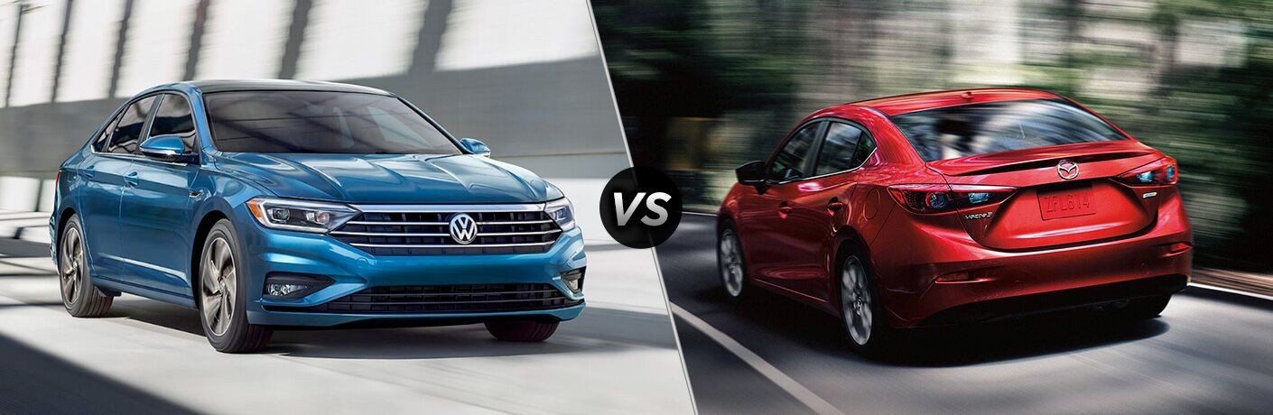 Comparison image of blue 2019 Volkswagen Jetta and a red 2019 Mazda3