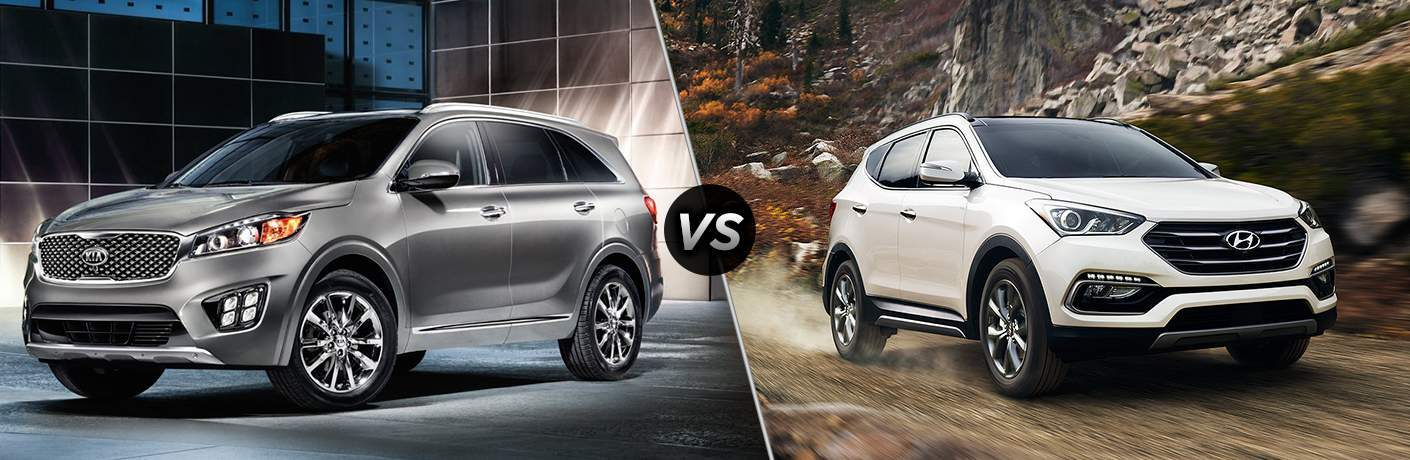2018 Kia Sorento in gray vs 2018 Hyundai Santa Fe in white