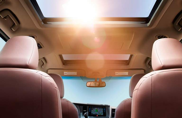 2018 Toyota Sienna interior shot of open sunroof