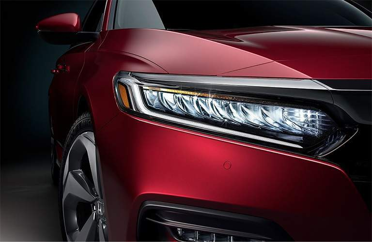 close up of red 2018 Honda Accord LED headlights