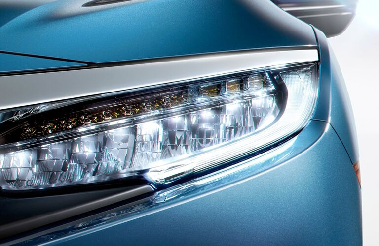 closeup view of 2018 Honda Civic headlights