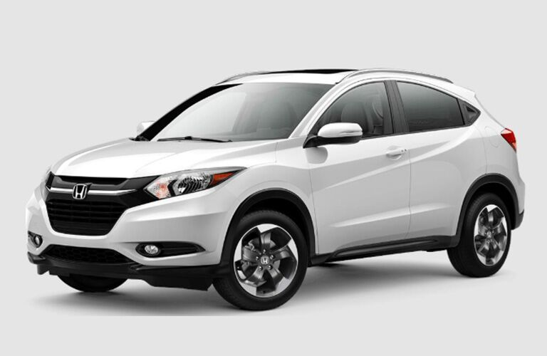 front and profile view of white 2018 Honda HR-V