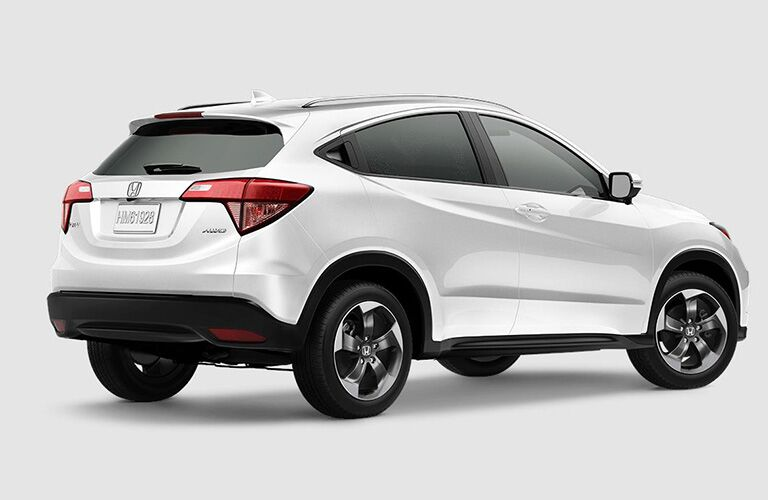 rear and profile view of white 2018 Honda HR-V