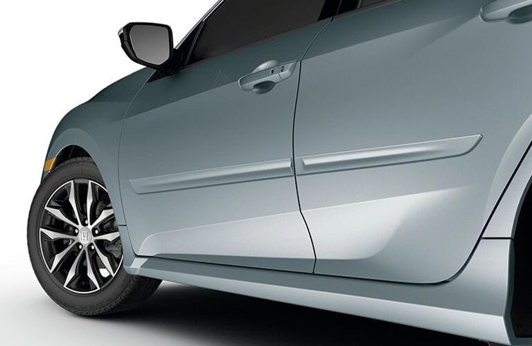closeup view of honda civic hatchback door exterior