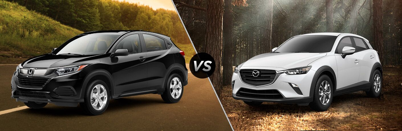 black honda hr-v compared to white mazda cx-3