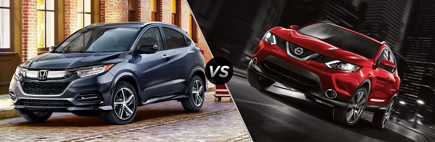 dark blue honda hr-v compared to red nissan rogue sport