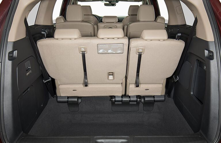 view of cargo area with seats up in the honda odyssey