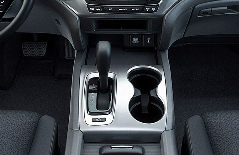 shifter and cup holders in the honda ridgeline