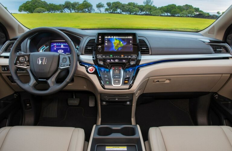 interior view of honda odyssey dashboard and steering wheel