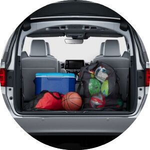 sports gear in the back of a minivan