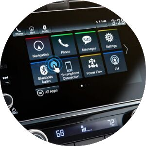 close-up view of Honda vehicle touch screen