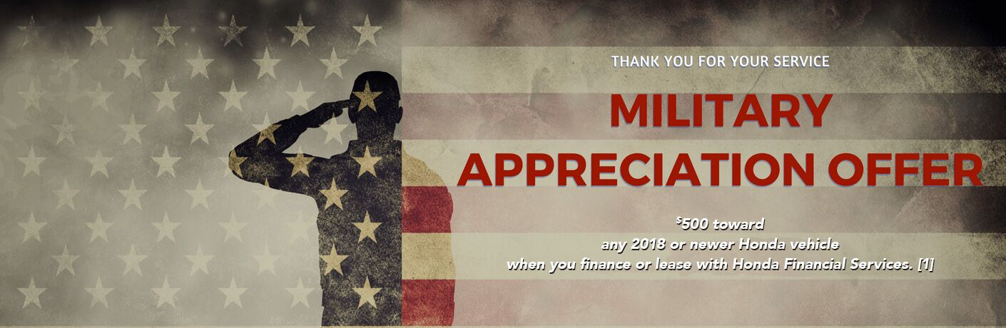 "silhouette of soldier on American flag background with text describing Honda Military Appreciation offer and ""thank you for your service"""