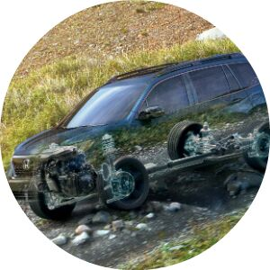see through honda passport showing awd system and suspension